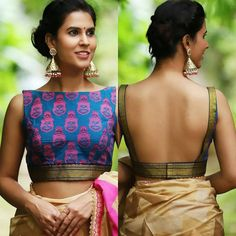 Looking for deep back neck blouse designs for sarees? Here are our picks of 14 trending blouse models that will make you flaunt this blouse with style. Blouse Lehenga, Latest Saree Blouse, Saree Blouse Neck Designs, Fancy Blouse Designs, Indian Blouse Designs, Lehenga Choli, Silk Sarees, Traditional Blouse Designs, Latest Blouse Designs
