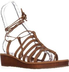 Lucky Brand Hulumi Ankle Strap Low Wedge Sandals, Brown Sugar.