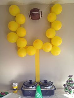 I got this from Nicks' football banquet. Do you think we could use it with both … – Super Bowl Trophy DIY Football Party Decorations, Football Themes, Football Boys, Football Decor, Kids Football Parties, Football Season, Tailgate Parties, Alabama Football, Tailgating