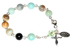 Amazonite Gemstone Sterling Silver Womens Rosary Bracelet  Gift Idea *** Read more at the image link.