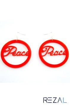 Personalized Custom Laser Cut Acrylic or Wood Words/Text/Name Kitsch Earrings