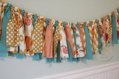 Pumpkin and Teal Fall Garland  Party Decor by MustardSeedDesignsUS