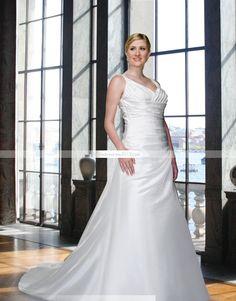 Séduisante A-ligne Col en V Longueur sol Chapelle Robe de mariée grande taille