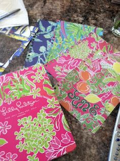 Crafts using old Lilly agenda pages