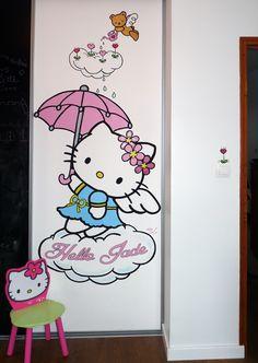 wall painting hello kitty umbrella.  fresque murale hello kitty parapluie.