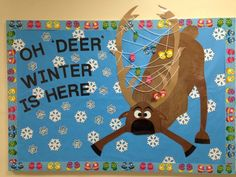 Oh 'Deer' Winter Is Here! - Best of Fifth Grade December - Winter bulletin board. Oh 'Deer' Winter Is Here! - Best of Fifth Grade December Bulletin Boards, Office Bulletin Boards, Christmas Bulletin Boards, Winter Bulletin Boards, Preschool Bulletin Boards, Bulletin Board Display, Winter Bulliten Board Ideas, Bulletin Board Ideas For Teachers, Apple Bulletin Boards