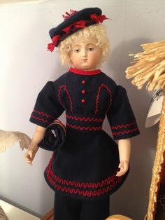 "Navy flannel bathing costume with hand embroidery for 16"" Huret repro based off of a Schoenhut pattern and tailored specifically to our doll."