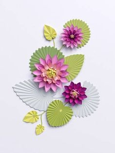 render paper lotus flowers wall decoration pink water lily green leaves isolated on white background Paper Lotus, Lotus Art, Pink Paper, Birthday Decorations, Flower Decorations, Home Crafts, Crafts For Kids, Paper Bouquet, Paper Flowers
