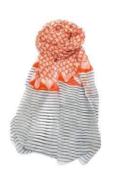 Coral + stripes scarf