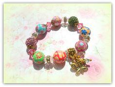Gold Butterfly Charm, Rainbow Colours Childrens Bracelet Kids Bracelet Polymer Clay Bracelet Shamballa Bracelet UK Children's Accessories by SimplyPrettyJewels on Etsy