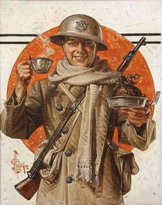 "1917 ""A Soldier's Thanksgiving"" The Saturday Evening Post 8 December 1917 oil on canvas 63.5 x 51.4 cm"