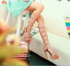 Womens Shoes Over High Block Heel Platform Cross Bandage Lace Up Sandal Boots
