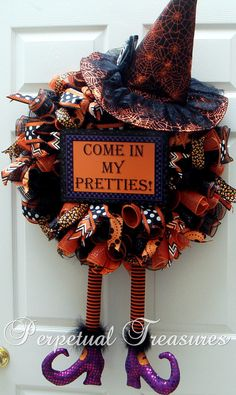 Halloween Witch Wreath with Hat & RAZ Legs. Deco Mesh Witch Wreath to help welcome all your neighborhood little Princesses, Ghosts, Ghouls &