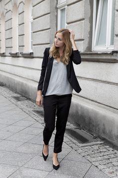 Business casual look }} v-neck longsleeve: WIOLA WOŁCZYŃSKA | bag: GIGI NY | pointy shoes: ZARA (similar here) | pants: AXPARIS | jacket: SHEINSIDE | necklace: WISHBONE | makeup: CHANEL