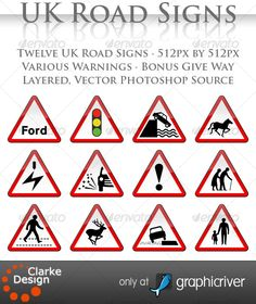 Buy UK Road Signs: Warnings by clarkedesign on GraphicRiver. UK Road Signs: Warnings A collection of 12 UK Traffic signs depicting warnings Fully layered, vector Photoshop So. Digital Illustration, Graphic Illustration, Illustrations, Red Sign, Sign Sign, Driving Theory, Zebra Crossing, Resume Templates, Adobe Illustrator