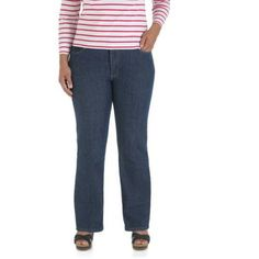 Riders by Lee Women's Plus-Size Relaxed Fit Straight-Leg Jeans, Available in Medium, Petite, and Long Lengths, Size: 18W Petite, Blue