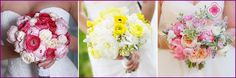 Ranunkulyus svatební kytice - možnosti formulace a kombinace s jinými barvami, fotky