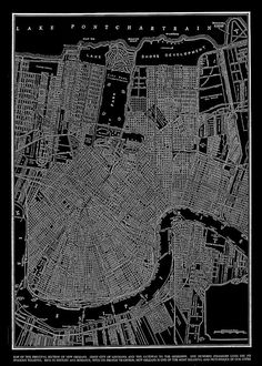 1944 New Orleans Street Map Vintage Black  Poster by TheMapShop, $12.95