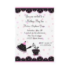 Pretty pink and black polka dotted Mother's day Tea Invites.