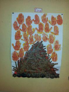 Winter fire ,kids craft using handprints