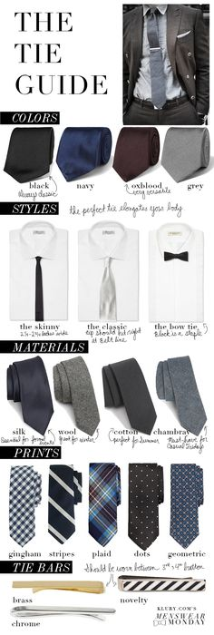 The Tie Guide: How to Shop for & Wear the Perfect Tie #infographic #tipographic