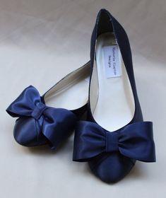 Marine Wedding Flat Bow Flats by TheCrystalSlipper on Etsy #weddingshoes