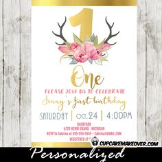 Girl Little Deer 1st birthday invitation featuring ONE in faux gold foil with a beautiful arrangement of pink tulips in watercolor on little antlers. #cupcakemakeover