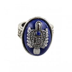 New  Vintage Silver Color Alloy Punk Style Big Blue Created Gemstone Ring for Men and Women Wholesale