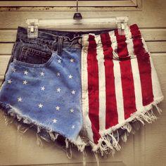 American Flag High Waisted Jean Shorts