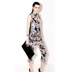 Ethnic Style Stand Collar Floral Printed Perspective Gauze Back Sleeveless Dacron Women's Shirt