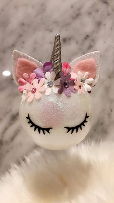 UNICORN ORNAMENT Unicorn Ornament Felt Ball Flower Crown