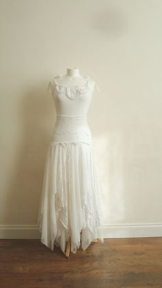 Upcycled Woman's Clothing Romantic Eco Style Wedding Fairy Dress Long Maxi Lace Ivory Off White OOAK