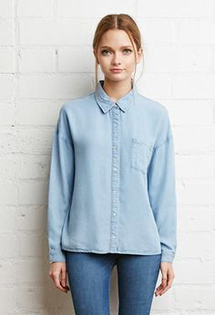 FOREVER 21 Boxy Collared Chambray Shirt - Shop for women's Shirt - Light blue Shirt