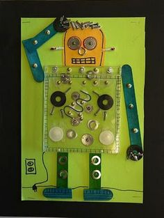 Kids can create this fun robot easily. The best part is that the CD case can open and close to reveal the robot's inner workings! Brilliant!