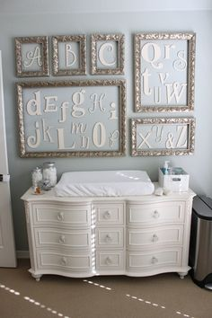 Baby G's Elegant Gender Neutral Nursery Cute idea for decorating a baby/child's room. Baby G Nursery Room, Girl Nursery, Nursery Decor, Room Decor, Room Baby, Nursery Ideas, Alphabet Nursery, Elephant Nursery, Nursery Collage