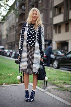 How to wear polka dots like a grown up - become a print mixing master and pair them with a variety of scales and other prints, like zigzags and stripes.