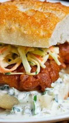 Crispy Beer Battered Fish Sandwich Recipe : Light flaky, tender and moist cod wrapped in a beer batter and fried until crispy and golden brown; served in a baguette with coleslaw and tartar sauce. Fish Sandwich, Sandwich Shops, Soup And Sandwich, Sandwich Recipes, Fish Burger, Fish Dishes, Seafood Dishes, Fish And Seafood, Seafood Recipes