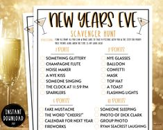 """""""New Years Eve Scavenger Hunt Game   New Years Games New Years Eve Party Games   NYE Adult Party Games   Kids New Years Eve Party Game Hit that ♥︎ to Favorite this Game! This New Years Eve Scavenger Hunt Game is such a fun New Years Eve game to play with your friends & family at your New Years event! Impress your guests with the fun games you brought to the party! Bring the fun with this super easy New Years Printable Party Game! Perfect for adults and kids to enjoy on this fun night! GET TH New Years Eve Drinks, New Years Eve Games, New Years Party, Nye Games, New Year's Games, New Year's Eve Games For Adults, New Years Eve Party Ideas For Adults, New Year's Eve Party Themes, Family New Years Eve"""