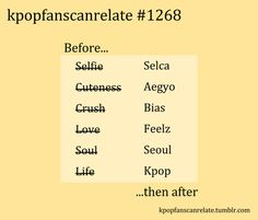 For a long time I forgot normal people don't know what Selca, Aegyo or bias means so I kept saying it