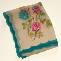 Fifties Rose Rectangular Sheer Scarf Shawl by FancyNancyVintage, $12.00