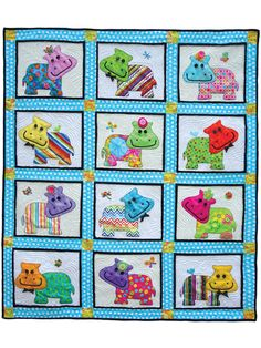 Ellie & Elliott Quilt Pattern ~ intermediate level ~ uses many different colors to achieve a different personality for each hippo ~ finished size x ~ QUILTING Cute Quilts, Easy Quilts, Turtle Quilt, Applique Quilt Patterns, Baby Boy Quilts, Kids Patterns, Rag Quilt, Thing 1, Quilting Designs