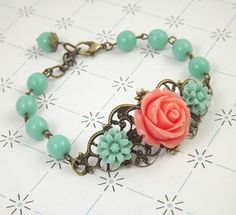 Coral and Aqua Filigree Flower Bracelet by cymbaline84 on Etsy, $17.00