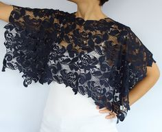Lace Shrug Shoulder Wrap Ultramarine Lightweight by mammamiaeme, $33.00 #lace top
