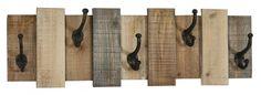CROCHET MURAL CLOTURE EN BOIS : Plaque murale en forme de clôture de bois avec 5 crochets de métal noir.