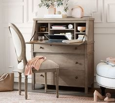 Shop secretary from Pottery Barn. Our furniture, home decor and accessories collections feature secretary in quality materials and classic styles. Home Office Desks, Office Furniture, Office Decor, Office Ideas, Furniture Nyc, Office Designs, Office Walls, Furniture Ideas, Desk Redo