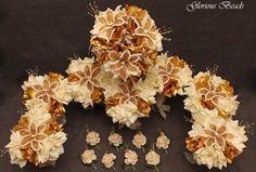Gold & Ivory BEADED Flower Quinceanera Wedding Bouquet 16 PC Set FREE BOUTONNIER   eBay