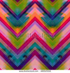 Watercolor zig zag ornament seamless pattern. Wrapping seamless colorful zigzag.