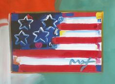 Flag With Heart Unique 1999 38x32 by Peter Max