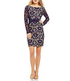 Jessica Simpson Long Sleeve Bonded Lace Dress #Dillards