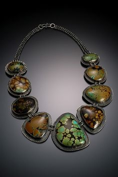 Jennifer Kahn Necklace with mixed colors of Hubei Chinese Turquoise